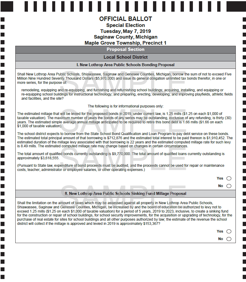 May 2019 sample ballot